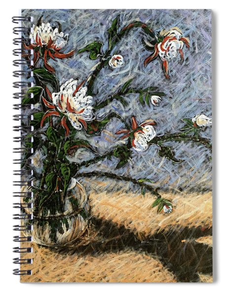 White And Red Dahlias Spiral Notebook
