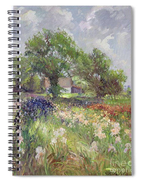 White Barn And Iris Field Spiral Notebook
