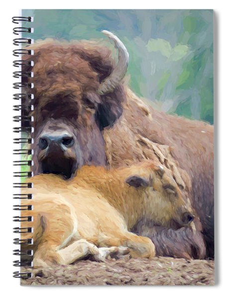 White Bison And Calf Spiral Notebook
