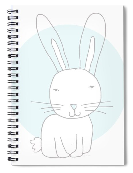 White Bunny On Blue- Art By Linda Woods Spiral Notebook