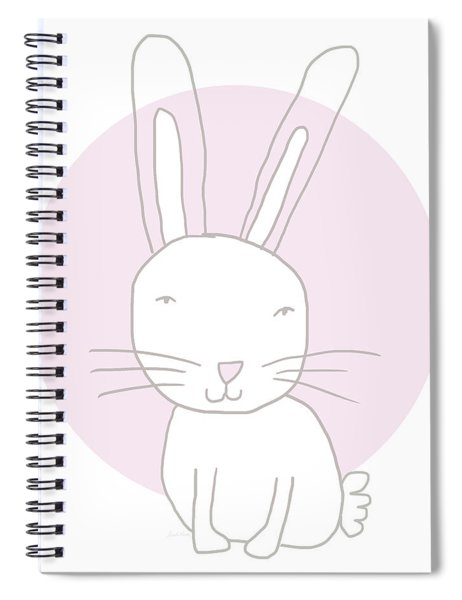 White Bunny On Pink- Art By Linda Woods Spiral Notebook