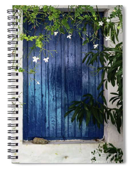 White Flowers On Vine Hanging In Front Of Blue Shuttered Window In Greece Spiral Notebook