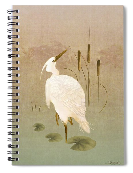 White Heron In Bulrushes Spiral Notebook