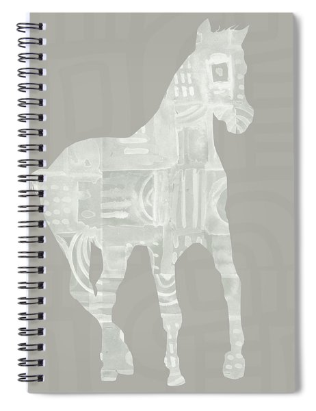 White Horse 3- Art By Linda Woods Spiral Notebook