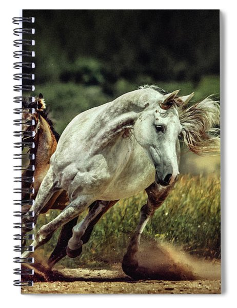 White Horse And Foal Running Wild Spiral Notebook
