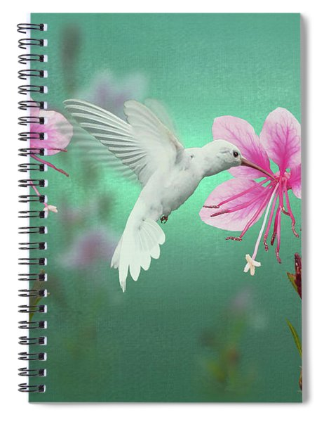 White Hummingbird And Pink Guara Spiral Notebook