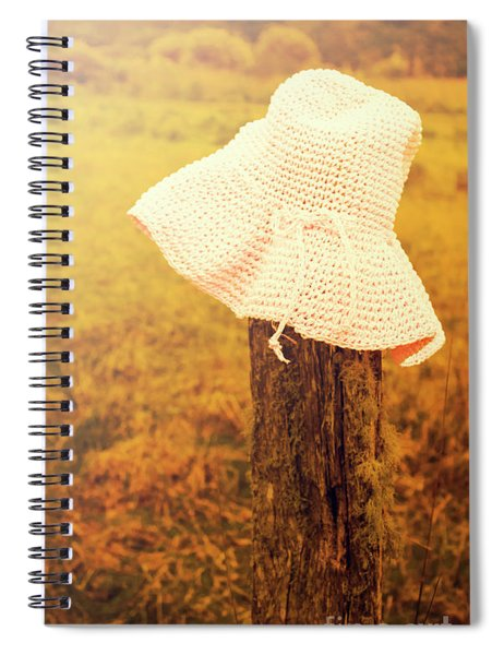White Knitted Hat On Farm Fence Spiral Notebook