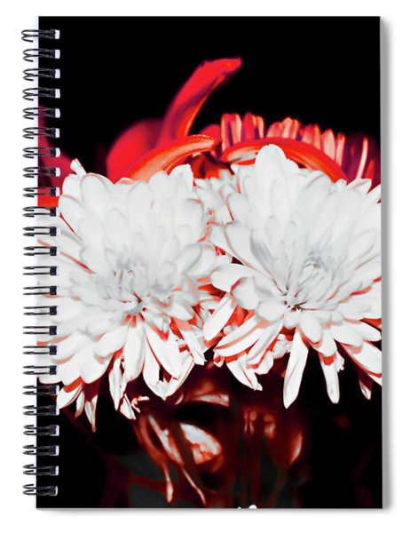 White Mums And Red Lilies Spiral Notebook