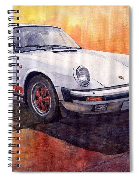 White Red Legend Porsche 911 Carrera Spiral Notebook