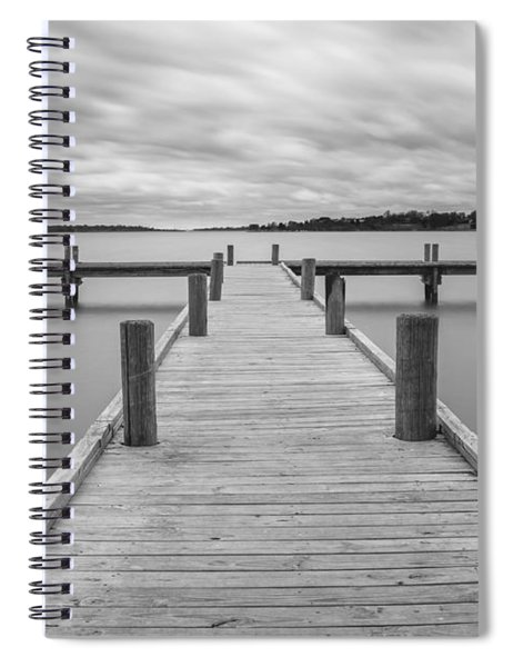 Spiral Notebook featuring the photograph White Rock Lake Pier Black And White by Robert Bellomy