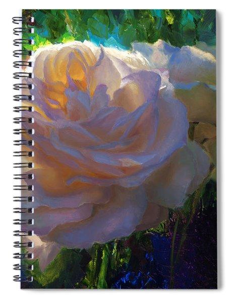 White Roses In The Garden - Backlit Flowers - Summer Rose Spiral Notebook