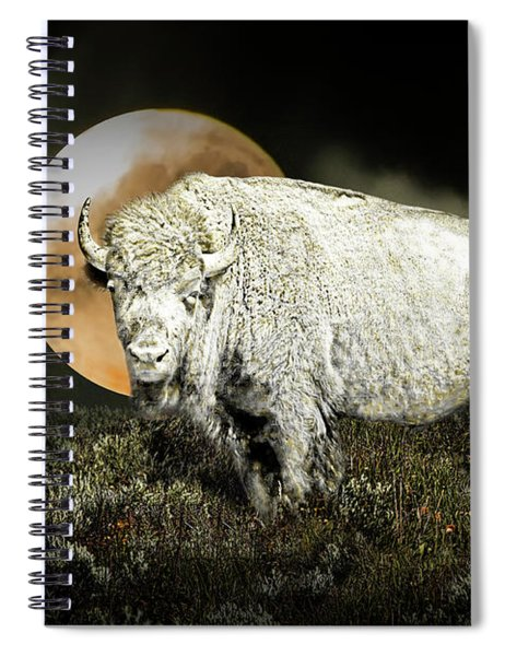 White Spirit Buffalo And Moon Spiral Notebook