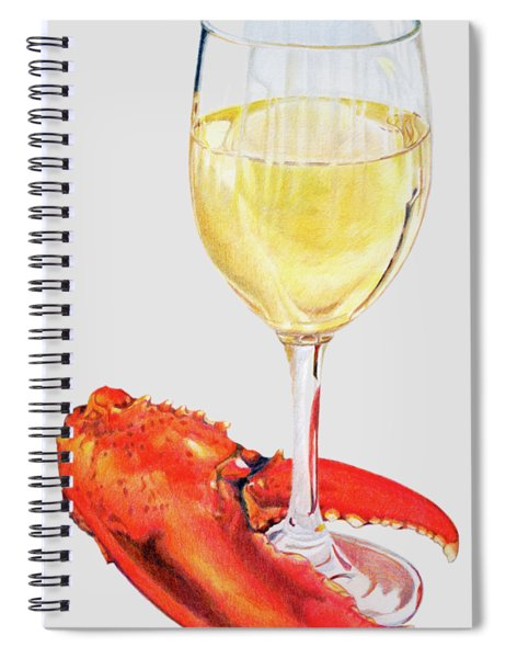 White Wine And Lobster Claw Spiral Notebook