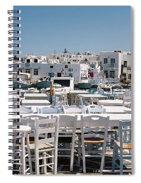 Spiral Notebook featuring the photograph Whitewashed Naoussa by Lorraine Devon Wilke