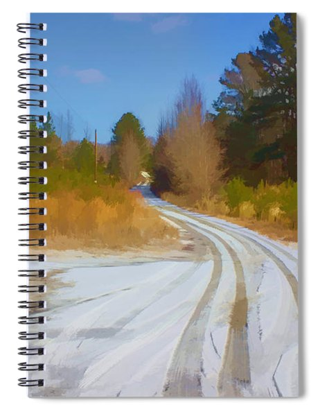 Snow Covered Lane Spiral Notebook