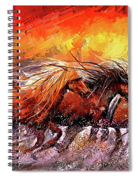 Wild And Free - Horses Running In The Wild Art Spiral Notebook