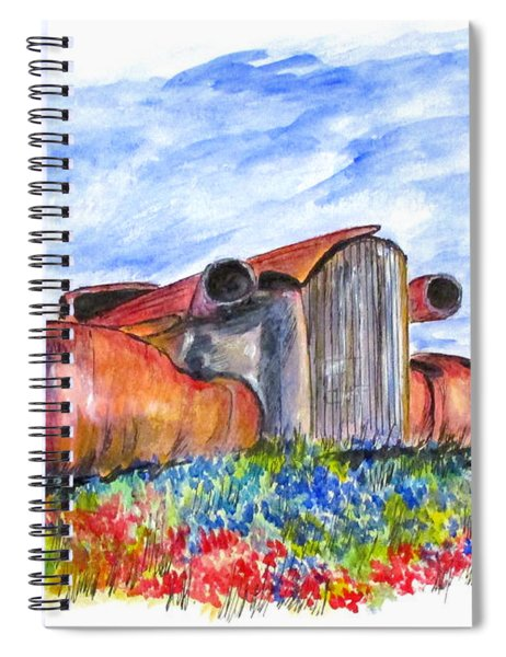 Wild Flower Junk Car Spiral Notebook