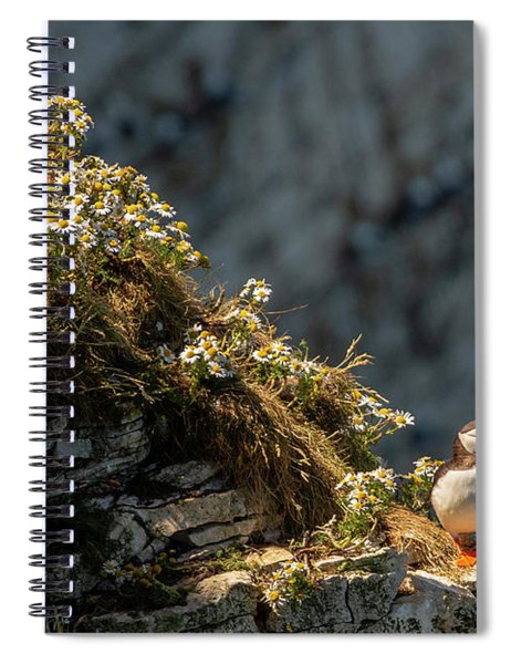 Wildflowers And Puffin  Spiral Notebook