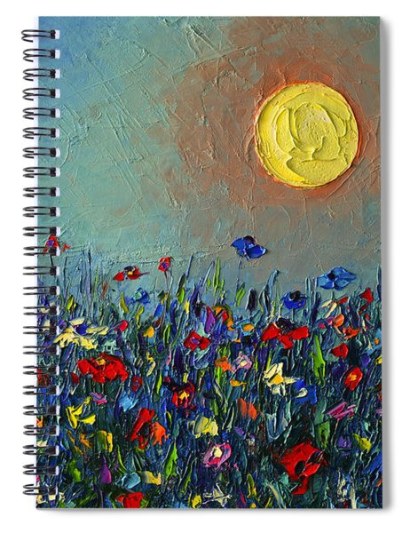 Wildflowers Meadow Sunrise Modern Floral Original Palette Knife Oil Painting By Ana Maria Edulescu Spiral Notebook