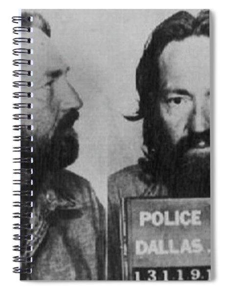 Willie Nelson Mug Shot Horizontal Black And White Spiral Notebook