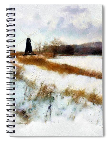 Windmill In The Snow Spiral Notebook