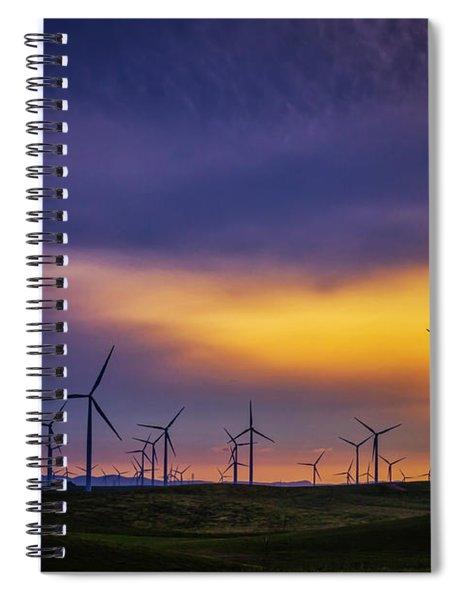 Windmills At Sunset Spiral Notebook