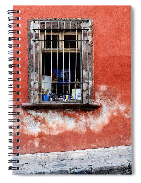 Window On Red Wall San Miguel De Allende, Mexico Spiral Notebook
