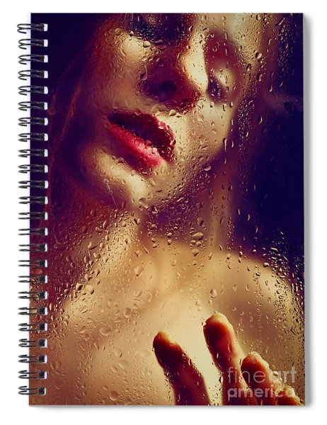 Window -  Sensual Woman Portrait Behind A Rainy Window Spiral Notebook