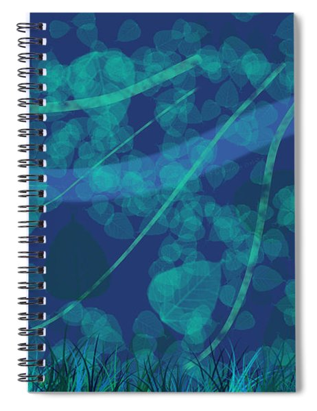 Windy Day - Background Abstract Of Leaves Blowing In The Wind Against Dark Blue Spiral Notebook