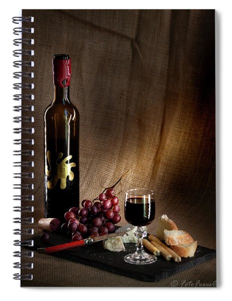 Wine Cheese Grapes Spiral Notebook