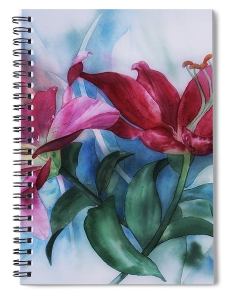 Wine Lillies In Pastel Watercolour Spiral Notebook