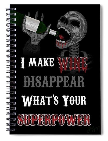 Wine Superpower Skeleton Fantasy Art Spiral Notebook