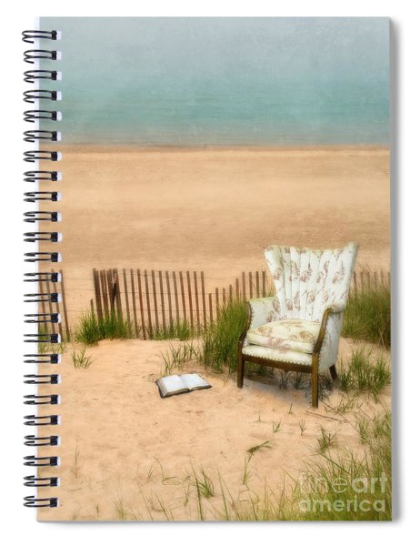 Wingback Chair At The Beach Spiral Notebook