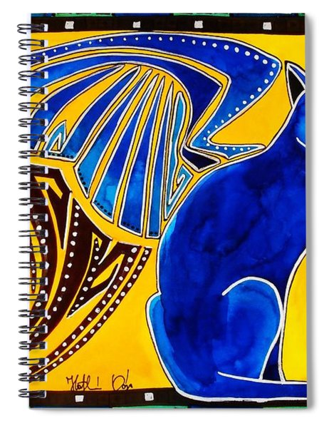 Winged Feline - Cat Art With Letter P By Dora Hathazi Mendes Spiral Notebook