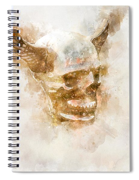 Winged Skull Watercolor Spiral Notebook
