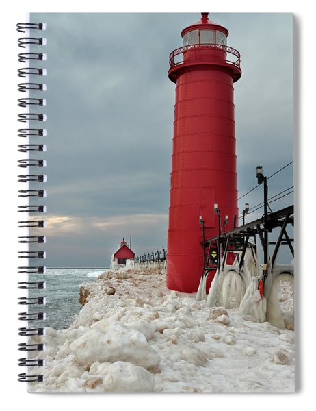Winter At Grand Haven Lighthouse Spiral Notebook