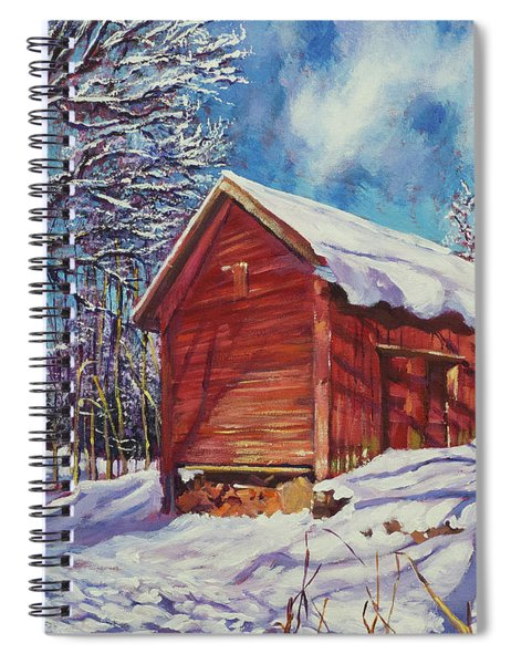 Winter At The Old Barn Spiral Notebook