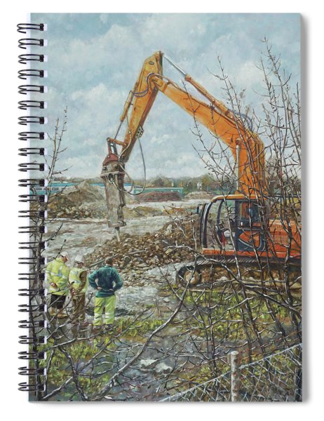 Spiral Notebook featuring the painting Winter Building Site Breaker by Martin Davey