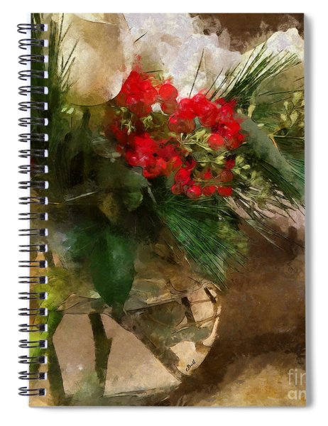 Winter Flowers In Glass Vase Spiral Notebook