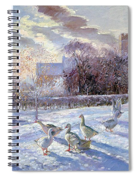 Winter Geese In Church Meadow Spiral Notebook