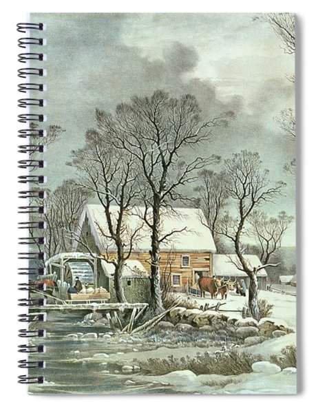 Winter In The Country - The Old Grist Mill Spiral Notebook