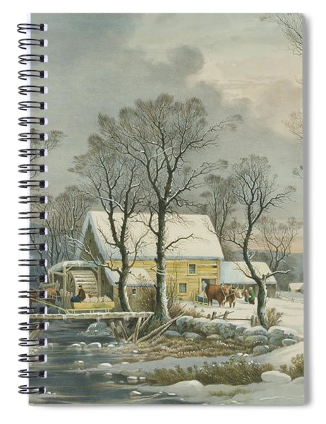 Winter In The Country, The Old Grist Mill, 1864  Spiral Notebook