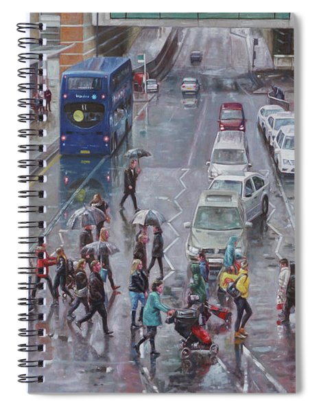 Spiral Notebook featuring the painting Winter Shopping Season Southampton by Martin Davey