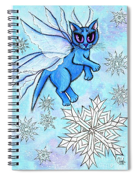 Winter Snowflake Fairy Cat Spiral Notebook