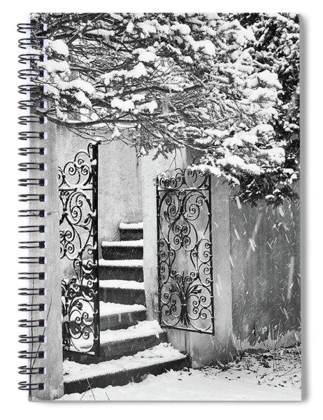 Winter Steps At The Vanderbilt In Centerport, Ny Spiral Notebook