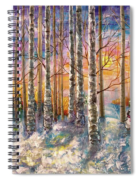 Dylan's Snowman - Winter Sunset Landscape Impressionistic Painting With Palette Knife Spiral Notebook