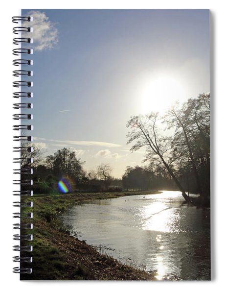 Winter Sunshine On The River Wey At Send Surrey Spiral Notebook