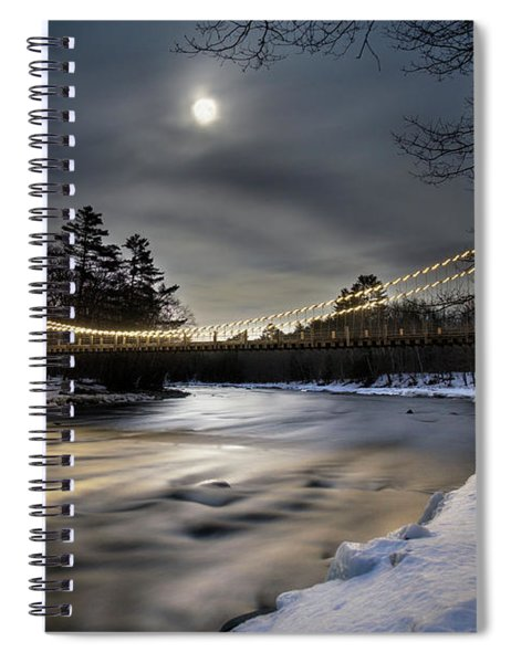 Wire Bridge Under A Full Moon Spiral Notebook