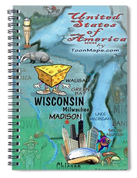 Wisconsin Fun Map Spiral Notebook