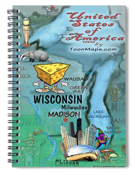 Wisconsin Fun Map Spiral Notebook
